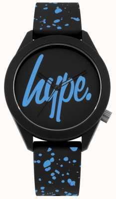 Hype | bracelet homme en silicone noir et bleu | cadran noir / bleu | HYG003BU
