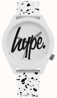 Hype | bracelet homme en silicone imprimé blanc et noir | cadran blanc | HYG003W