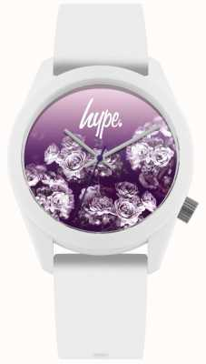 Hype | bracelet en silicone blanc | cadran fleur pourpre | HYU010WV