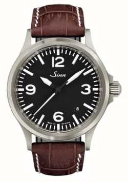 Sinn 556 un cuir de sport en verre saphir brun estampé 556.014 BROWN ALLIGATOR STYLE WHITE STITCH