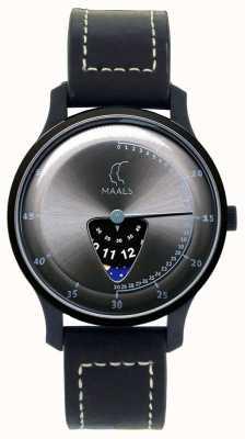 Maals Bracelet en cuir noir Sauter par-dessus la lune JOTMBLACKSTEEL