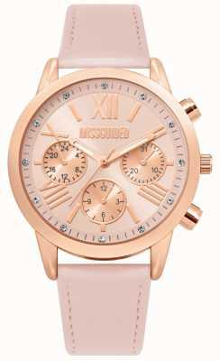 Missguided | bracelet en cuir rose pour femme | cadran rose | MG019PRG