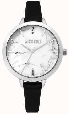 Missguided | montre femme en cuir noir | cadran en marbre blanc | MG011BS