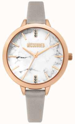 Missguided | bracelet en cuir gris dames | cadran blanc marbel | MG011ERG