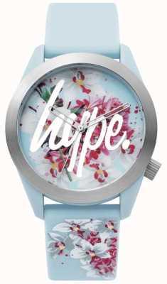 Hype | montre femme | bracelet en silicone bleu | cadran floral | HYL022US