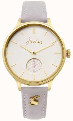Joules | bracelet en cuir gris dames | boîtier en or | JSL014EG