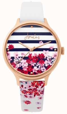 Joules | montre femme | bracelet floral en cuir blanc | JSL015WRG