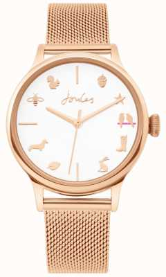 Joules | montre femme | bracelet maille doré rose | cadran blanc | JSL011RGM