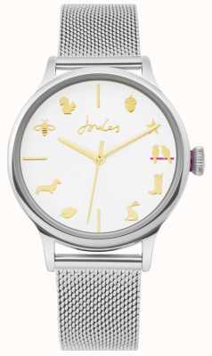 Joules | montre femme | bracelet en maille d'argent | cadran blanc | JSL011SM