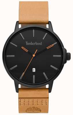 Timberland | hommes rollinsford | bracelet en cuir beige | cadran noir | 15637JYB/02