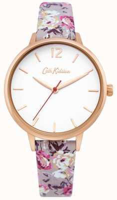 Cath Kidston | montre de jardin pour femmes | cadran blanc | bracelet en cuir fleuri | CKL067ERG