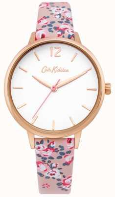 Cath Kidston | montre femme hampton | bracelet en cuir fleuri | cadran blanc | CKL067PRG