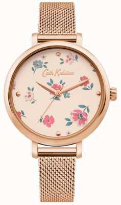 Cath Kidston | montre femme brampton ditsy | bracelet en maille d'or rose | CKL079RGM