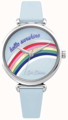 Cath Kidston | montre arc-en-ciel pour femme | bracelet en cuir bleu | cadran arc en ciel | CKL081U