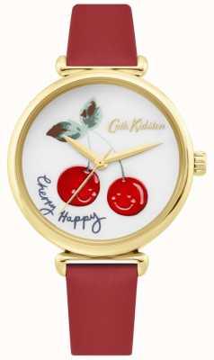 Cath Kidston | montre femme joyeuse cerise | bracelet en cuir rouge | cadran blanc CKL081RG