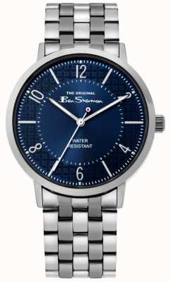 Ben Sherman | montre de script mens | bracelet en acier inoxydable | cadran bleu BS018USM