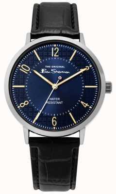 Ben Sherman | montre de script mens | bracelet en cuir noir | cadran bleu | BS018B