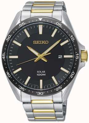 Seiko | cadran noir solaire deux tons en acier inoxydable pour hommes | SNE485P1