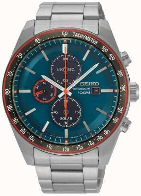 Seiko Chronographe solaire homme bleu cadran en acier inoxydable SSC717P1