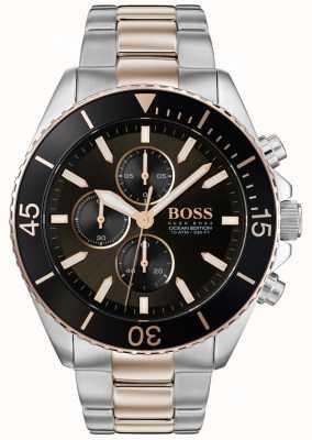 Hugo Boss | mens ocean edition | acier inoxydable deux tons | cadran noir 1513705