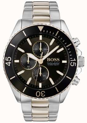 Boss | mens ocean edition | acier inoxydable deux tons | cadran noir 1513705