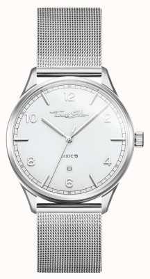 Thomas Sabo | bracelet en acier inoxydable avec mailles d'argent | cadran blanc | WA0338-201-202-40