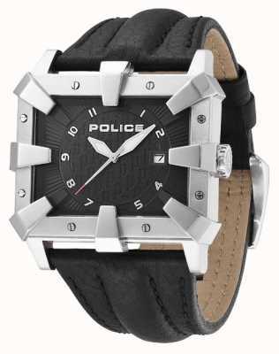 Police Bracelet en cuir noir pour homme cadran noir PL.93404AEU/02
