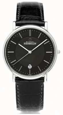 Michel Herbelin Bracelet en cuir noir classique pour homme 12248/14