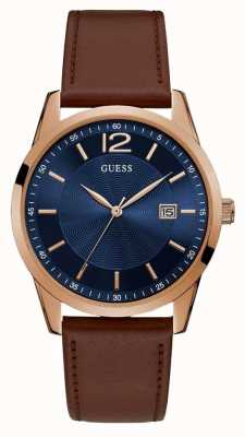 Guess | mens perry | bracelet en cuir marron | cadran bleu | W1186G3