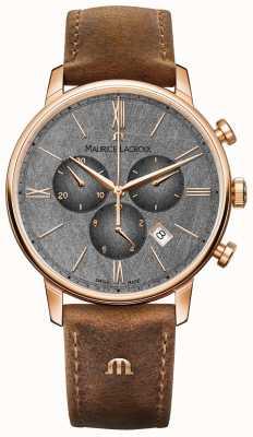 Maurice Lacroix Eliros cadran texturé chronographe bracelet en cuir marron EL1098-PVP01-210-1