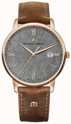 Maurice Lacroix Bracelet en cuir marron avec cadran texturé Eliros EL1118-PVP01-210-1
