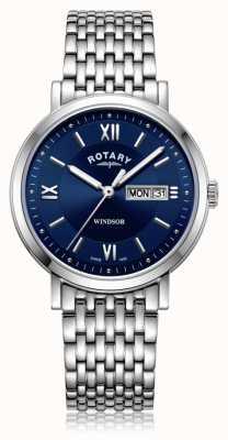 Rotary | bracelet en acier inoxydable hommes | cadran bleu | GB05300/66