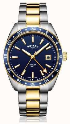 Rotary | hommes | bracelet bicolore en acier inoxydable | cadran bleu | GB05296/05