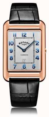 Rotary | bracelet en cuir noir pour hommes | boîtier en or rose | GS05284/70