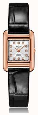 Rotary | bracelet en cuir noir dames | boîtier en or rose | LS05289/70/D