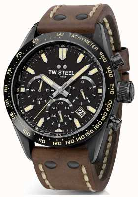 TW Steel | bracelet en cuir marron homme | chronographe noir | CHS1