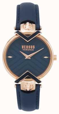 Versus Versace | bracelet en cuir bleu dames avec or rose | VSPLH0419