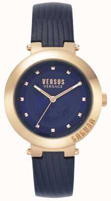 Versus Versace | bracelet en cuir bleu dames | boîtier en or rose | VSPLJ0419