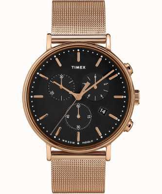 Timex | fairfield chrono cadran noir | étui ton or rose | TW2T37100D7PF