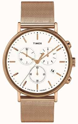 Timex | fairfield chrono cadran blanc | étui ton or rose | TW2T37200D7PF