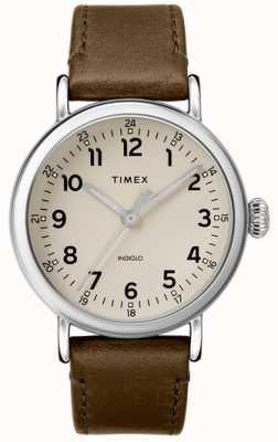 Timex | bracelet homme en cuir olive | cadran gris | TW2T20100D7PF
