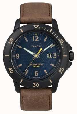 Timex | cuir brun solaire gallatin | cadran bleu | TW4B14600D7PF