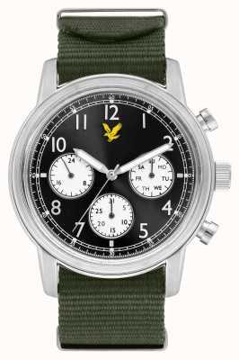 Lyle & Scott Cadran noir avec bracelet en nato vert pour homme LS-6005-02