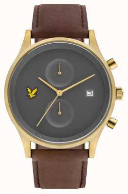 Lyle & Scott Mens the hope chronographe marron bracelet en cuir cadran gris LS-6007-07