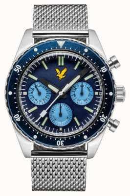 Lyle & Scott Bracelet en acier inoxydable Highland avec cadran bleu pour homme LS-6011-22