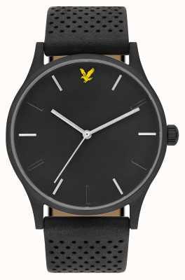 Lyle & Scott Mens hope le bracelet en cuir noir cadran noir LS-6014-02