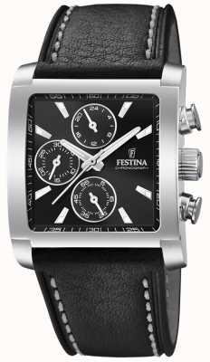 Festina | chronographe en acier inoxydable pour hommes | bracelet en cuir noir | F20424/3