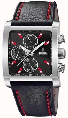 Festina | chronographe en cuir pour homme en acier inoxydable | cadran noir | F20424/8