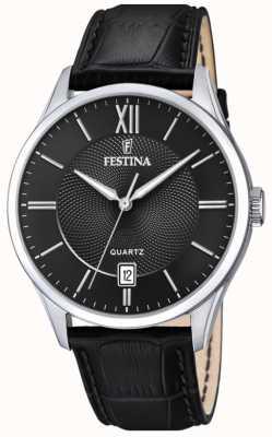 Festina | mens en acier inoxydable | bracelet en cuir noir | cadran noir | F20426/3