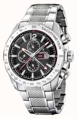 Festina | chronographe et double fuseau | cadran noir | bracelet en acier F20439/4